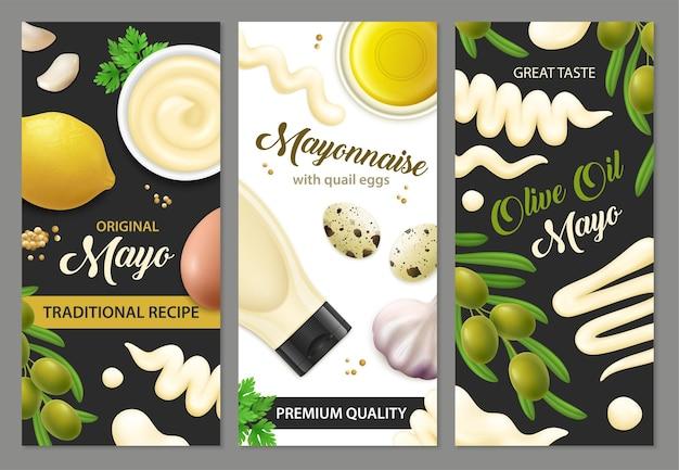 Conjunto de banners de mayonesa realista ¡