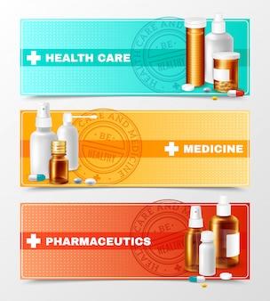 Conjunto de banners de medicinas