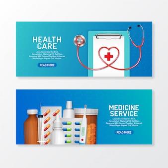 Conjunto de banners médicos y sanitarios con estetoscopio y frascos