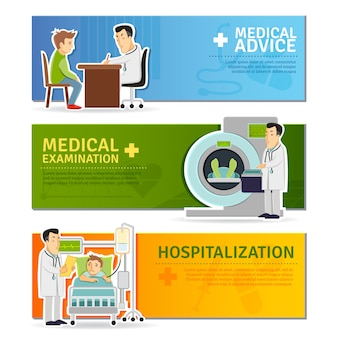 Conjunto de banners médicos