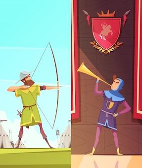 Conjunto de banners medievales verticales de dibujos animados
