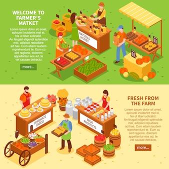Conjunto de banners de mercado agrícola
