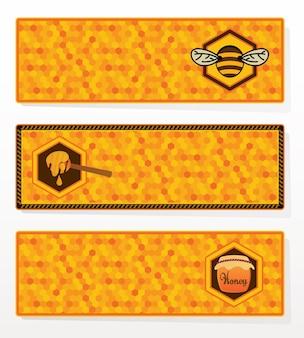 Conjunto de banners de miel.