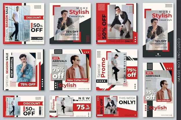 Conjunto de banners de moda para redes sociales y plantillas de historias