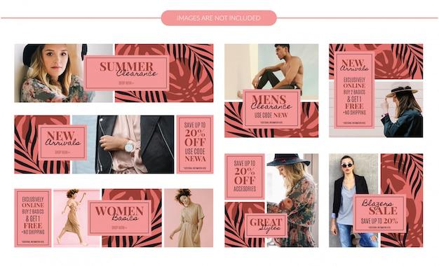 Conjunto de banners de moda de verano patrón