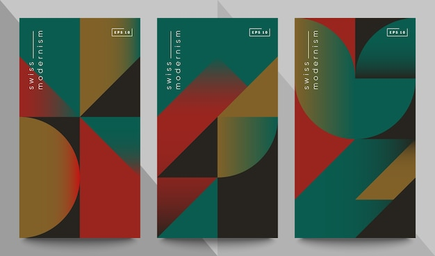 Conjunto de banners de modernismo suizo. formas y formas geométricas simples.