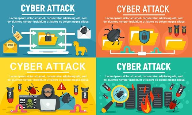Conjunto de banners de moderno ataque cibernético