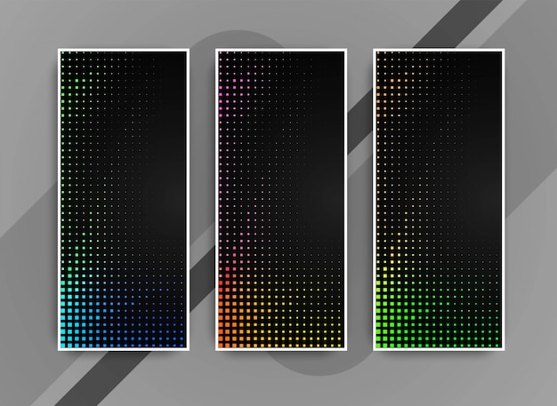 Conjunto de banners moderno colorido brillante abstracto