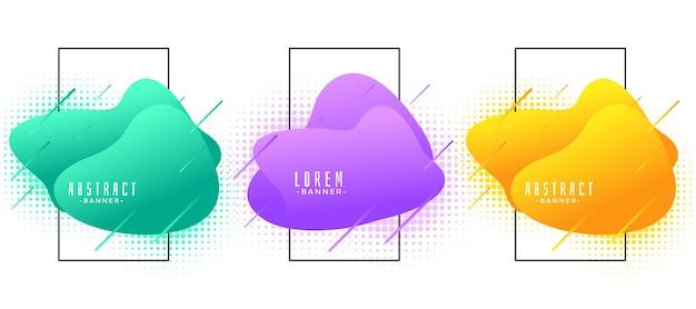 Conjunto de banners modernos coloridos abstractos