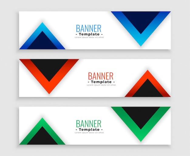 Conjunto de banners modernos triángulo geométrico de tres