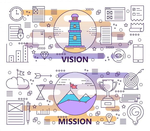 Conjunto de banners modernos de visión y misión de línea delgada