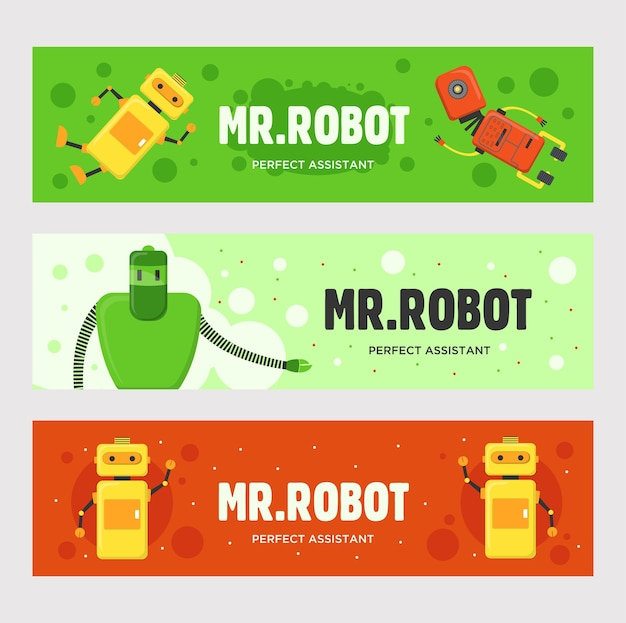 Conjunto de banners de mr.robot. humanoides, cyborgs, máquinas inteligentes, ilustraciones vectoriales con texto sobre fondos verdes y rojos. concepto de robótica para el diseño de volantes y folletos.