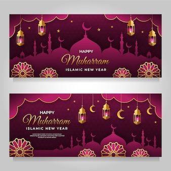 Conjunto de banners de muharram estilo papel.