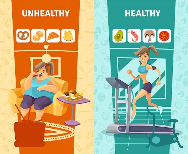 Conjunto de banners de mujer sana y poco saludable