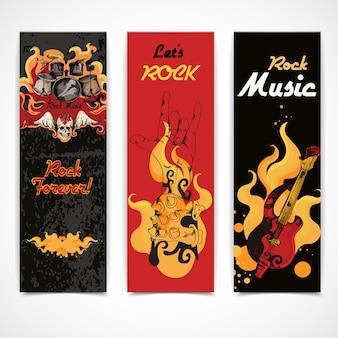 Conjunto de banners de música rock.
