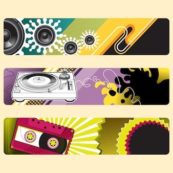 Conjunto de banners de música.