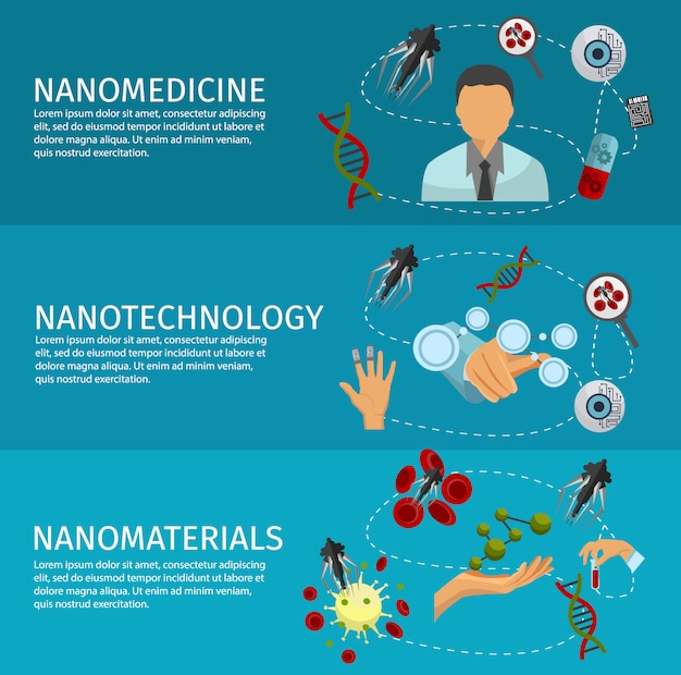 Conjunto de banners de nanotecnología
