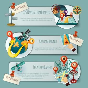 Conjunto de banners de navegación y enrutamiento