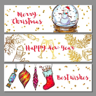Conjunto de banners de navidad de bosquejo