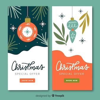 Conjunto de banners de navidad dibujados a mano