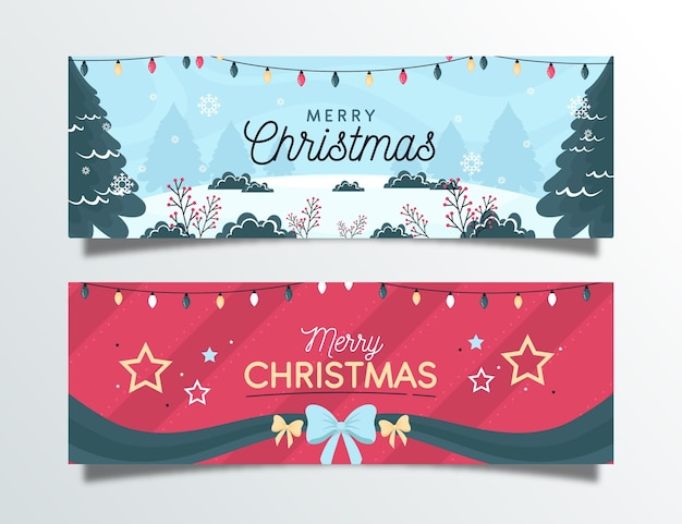 Conjunto de banners de navidad de diseño plano