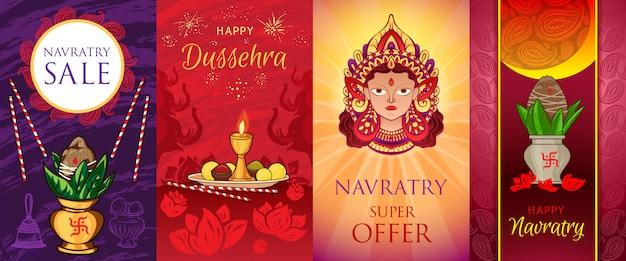 Conjunto de banners de navratri. ilustración de dibujos animados de conjunto de banner de vector navratri
