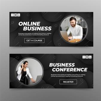 Conjunto de banners de negocios online