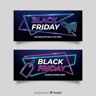 Conjunto de banners de neón viernes negro