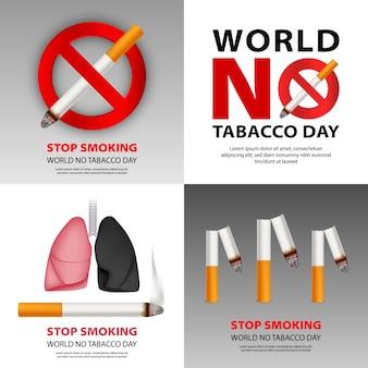 Conjunto de banners de no fumar público