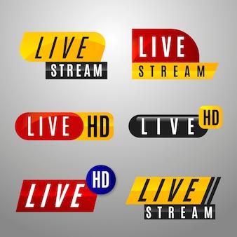 Conjunto de banners de noticias de transmisión en vivo