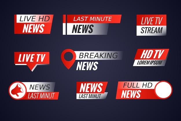 Conjunto de banners de noticias de transmisiones en vivo
