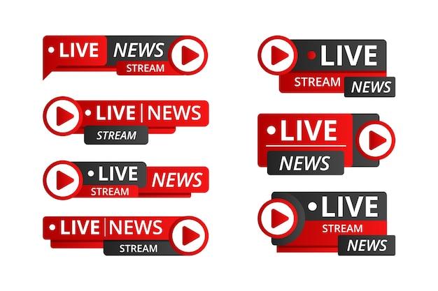 Conjunto de banners de noticias de vapor en vivo