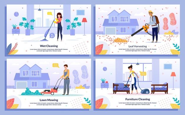 Conjunto de banners de obras de servicio de limpieza de la casa