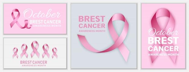 Conjunto de banners de octubre de cáncer de mama
