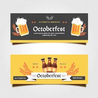 Conjunto de banners de oktoberfest de diseño plano