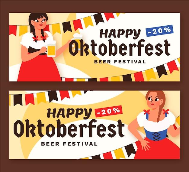Conjunto de banners de oktoberfest horizontales de dibujos animados