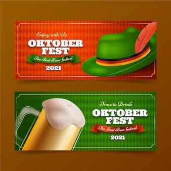Conjunto de banners de oktoberfest realistas
