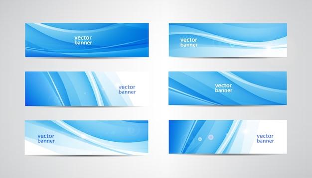 Conjunto de banners ondulados de flujo abstracto. fondos horizontales de agua, corriente, corriente de energía. encabezados wave liquid, transparentes y degradados