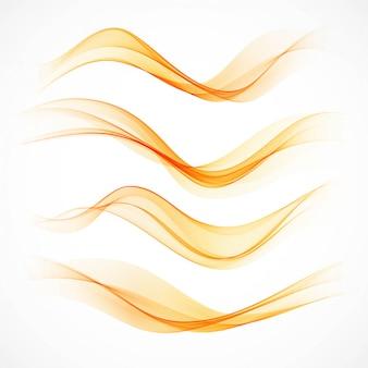 Conjunto de banners ondulados naranjas