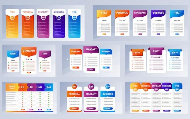 Conjunto de banners de opción. colección de tablas de precios