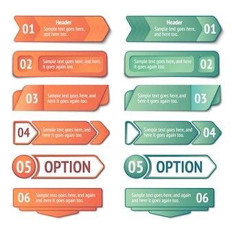 Conjunto de banners de opciones y títulos de infografía
