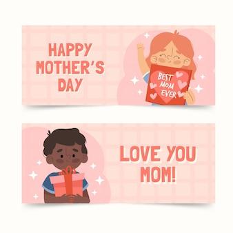 Conjunto de banners orgánicos planos del día de la madre.