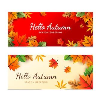 Conjunto de banners de otoño degradado