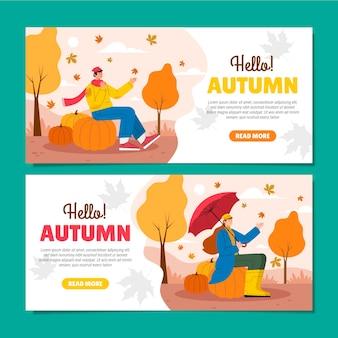 Conjunto de banners de otoño
