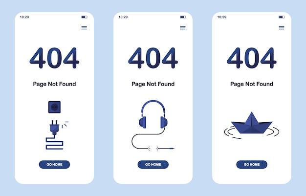 Conjunto de banners de página de error 404 no encontrada como versión móvil con auriculares, barco de papel origami y cable desconectado para el sitio web. azul