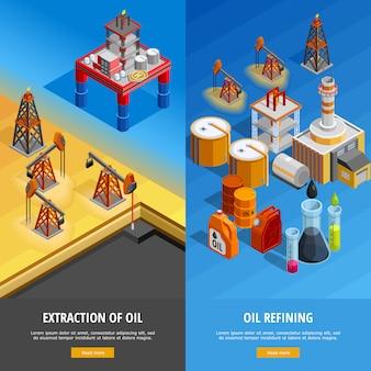 Conjunto de banners de página web isométrica de la industria del petróleo