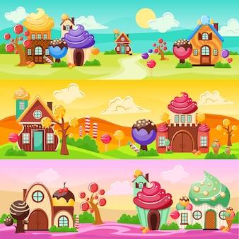 Conjunto de banners de paisaje de dulces
