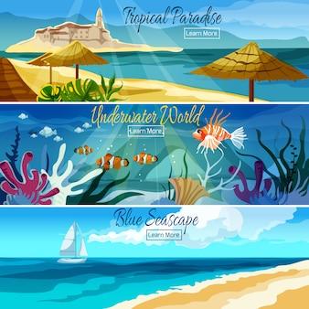 Conjunto de banners de paisaje marino