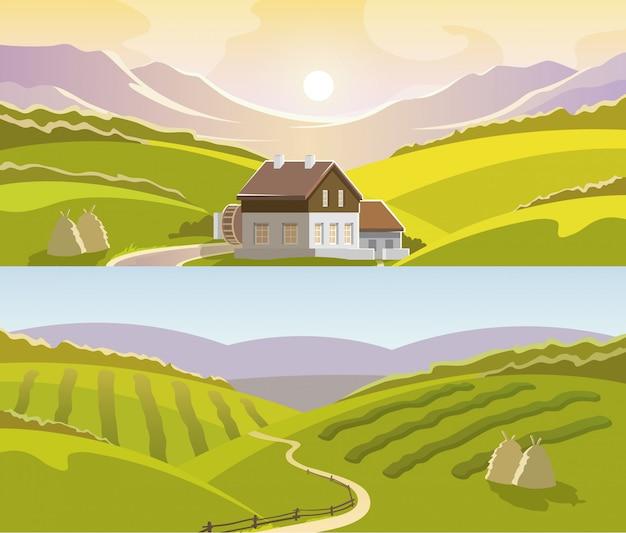 Conjunto de banners de paisaje de montaña
