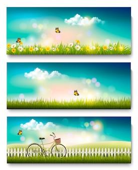 Conjunto de banners de paisaje de naturaleza de primavera con flores y mariposas. .